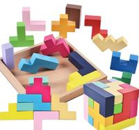 New Wooden 3D Tetris Game Educational Jigsaw Puzzle Toys Wood Tangram Brain Teaser IQ Cube Puzzle