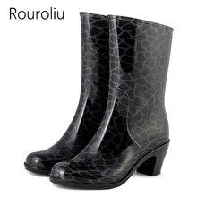 New Arrivals Fashion Women Mid-calf High Heels Rain Boots Female PVC Short Rainboots Waterproof Water Shoes Wellies #ZM84