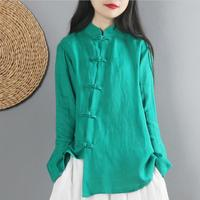 Vintage Literary Cotton Linen Women Spring Autumn Chinese Style Buckle National Style Long sleeved Linen Shirt Blouse