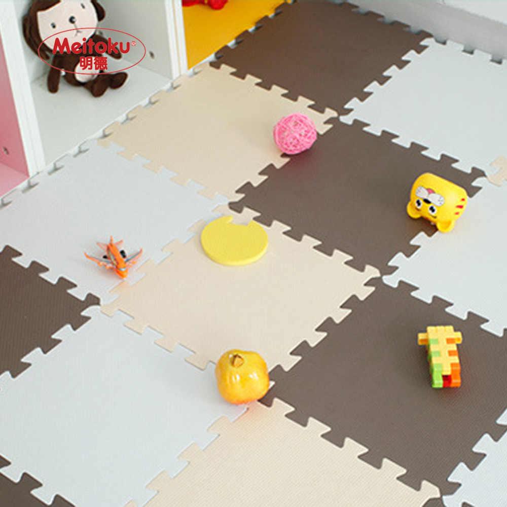 Meitoku bebek EVA köpük oyun bulmaca matı çocuklar için/kilitli egzersiz fayansları zemin halısı halı, her 32X32 cm, 18 veya 24 adet bir çanta içinde