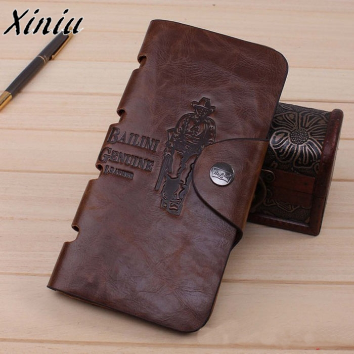 Mens Leather Purse Letters Vintage Long Wallet Male Bifold Qualited Money Bag Brown billetera hombre #6123