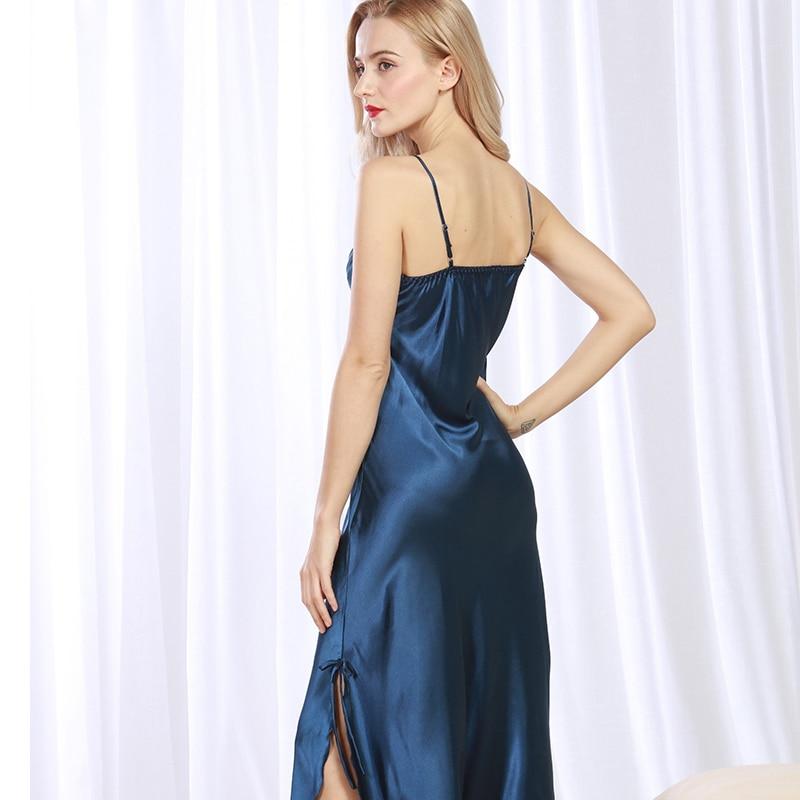 Brand Long Women Summer Night Dress Plus Size Sexy Lace Nightgown Silk Satin Nightdress Night Gown Nightwear CQ311