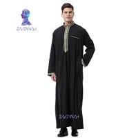 Fashion Muslim Clothing Men Robes Long Sleeve Embroidery Arab Dubai Indian Middle East Islamic Man Jubba Thobe Plus Size 3XL
