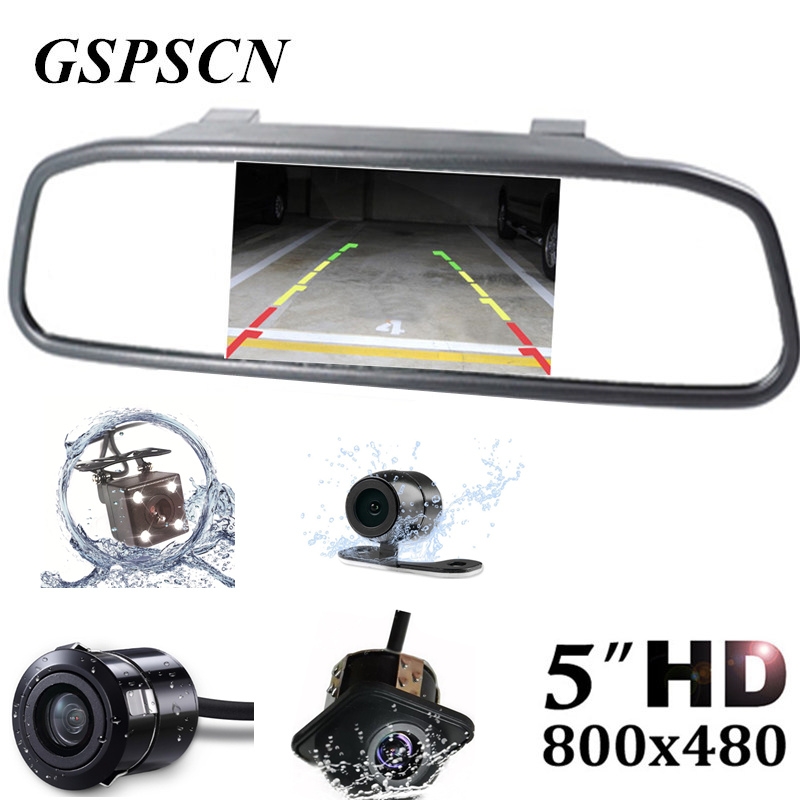 2-in-1 Universal TFT Rearview 5 Inch Mirror Monitor with Car Rear View Camera Parking System Night Vision Car Reversing Camera car hd video auto parking monitor led night vision reversing ccd car rear view camera with 4 3 inch car rearview mirror monitor