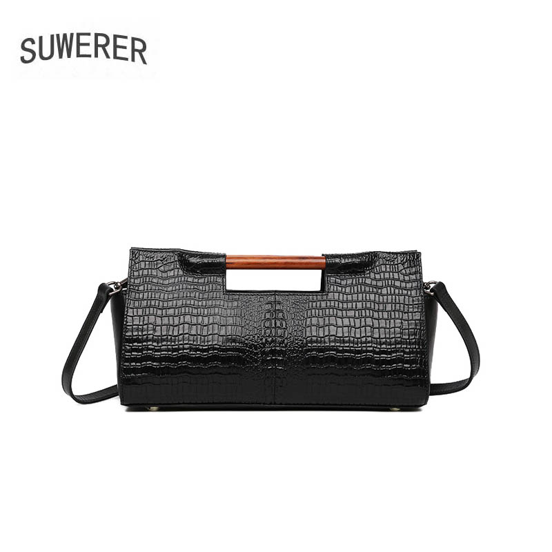 SUWERER2018 new luxury fashion 100% high quality high-grade leather crocodile pattern shoulder bag brand name products недорго, оригинальная цена