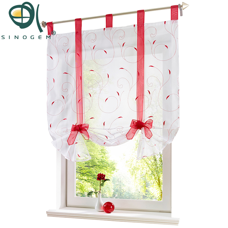 Sinogem Roman Curtain New Design Floral Embroidered Sheer Window Curtain For Kitchen Living Room Voile Tulle Screening Panel 1
