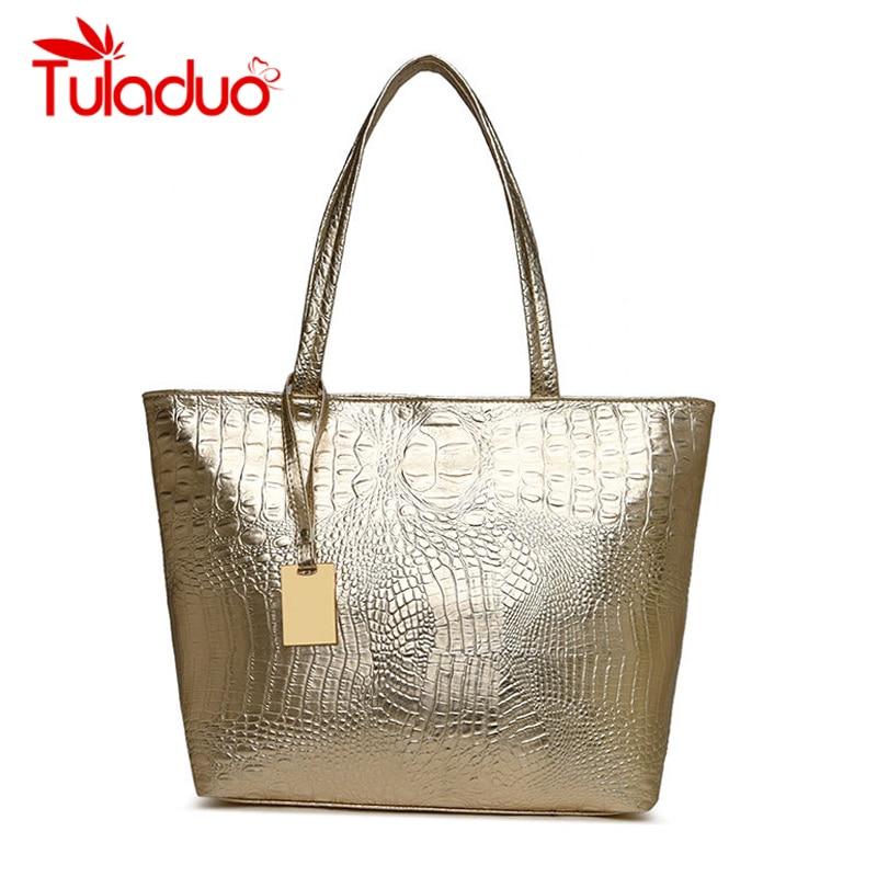 Women Crocodile Bag Fashion Luxury Designer Handbags Ladies Shoulder Bags Golden Casual Tote Bag PU Leather High Quality Sac