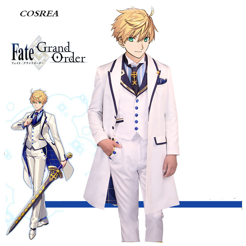 COSREA FGO Fate Grand Order Cosplay Costume Arthur King Pendragon White Suit Costumes Halloween Party For Adult Man