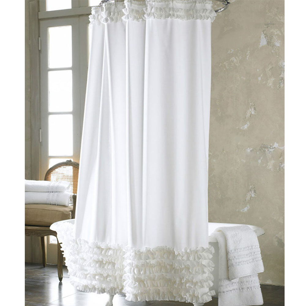 Country ruffled shower curtains - Hot Vogue Elegance White Polyester Waterproof Fabric Bath Shower Curtain White Ruffled Princess Dress Design Bathroom