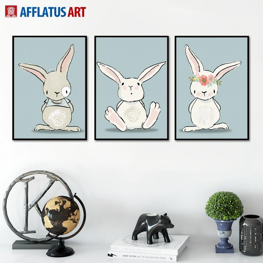 AFFLATUS Kawaii Rabbit Nordic Poster Canvas Painting