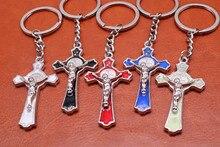 Católica de vidro vermelho São Bento chaveiro cruz, pingente de cruz de  metal religioso, c6666b416e