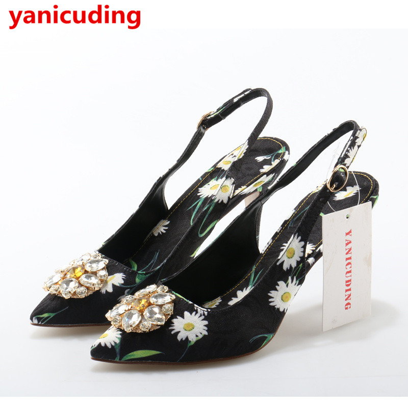 Pointed Toe Super High Thin Heel Women Pumps Colorful Crystal Embellish Wedding Party Star Runway Shoes Flower Luxury Stiletto satin metal leaves embellished women pumps pointed toe shallow thin high heel party dress stiletto wedding party runway shoes