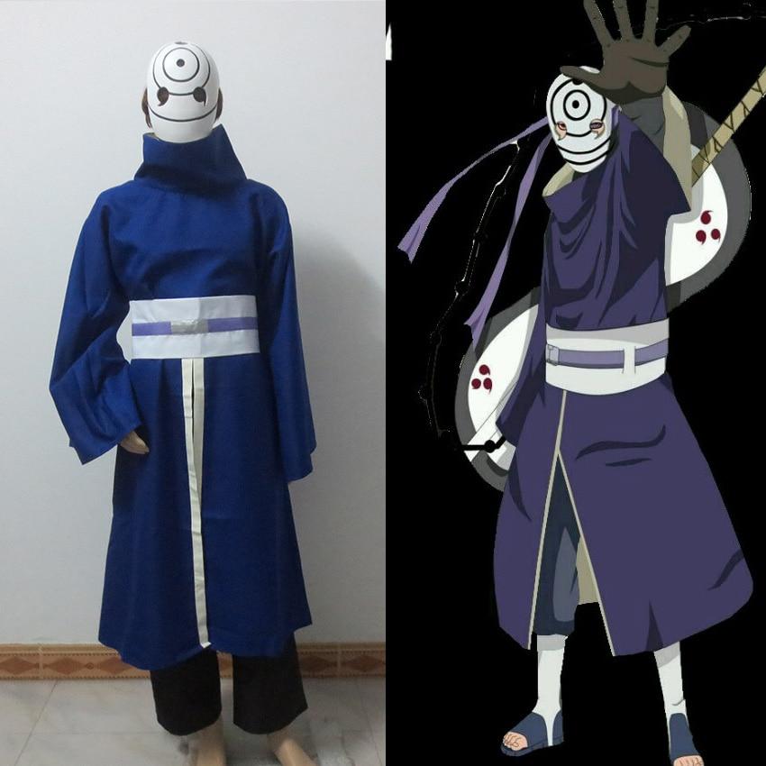 New Naruto Obito Uchiha Costume Akatsuki Ninja Tobi Uchiha Madara Include Mask Cosplay Costume
