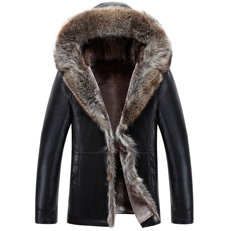 New Winter Thicken Leather Jacket Men Raccoon Dog Fur Collar Hooded Leather Jackets And Coats Casual Long Windproof Jacket Male