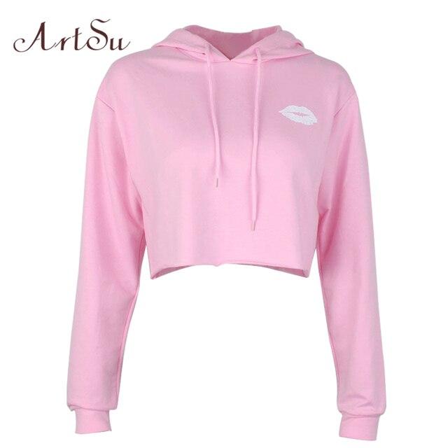 ArtSu Lips Print Cute Hoodie Long Sleeve Hooded Sweatshirt Cropped Hoodie Autumn Women Hoodies Sweatshirts Pink Black ASHO20051