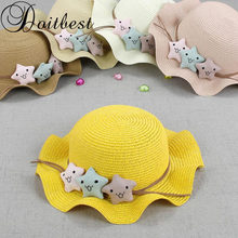 950d9674a2032d 2018 little stars Summer Children travel cap Simple Wavy large brimmed  straw hat boys girls Beach Hats age for 3-8 years old