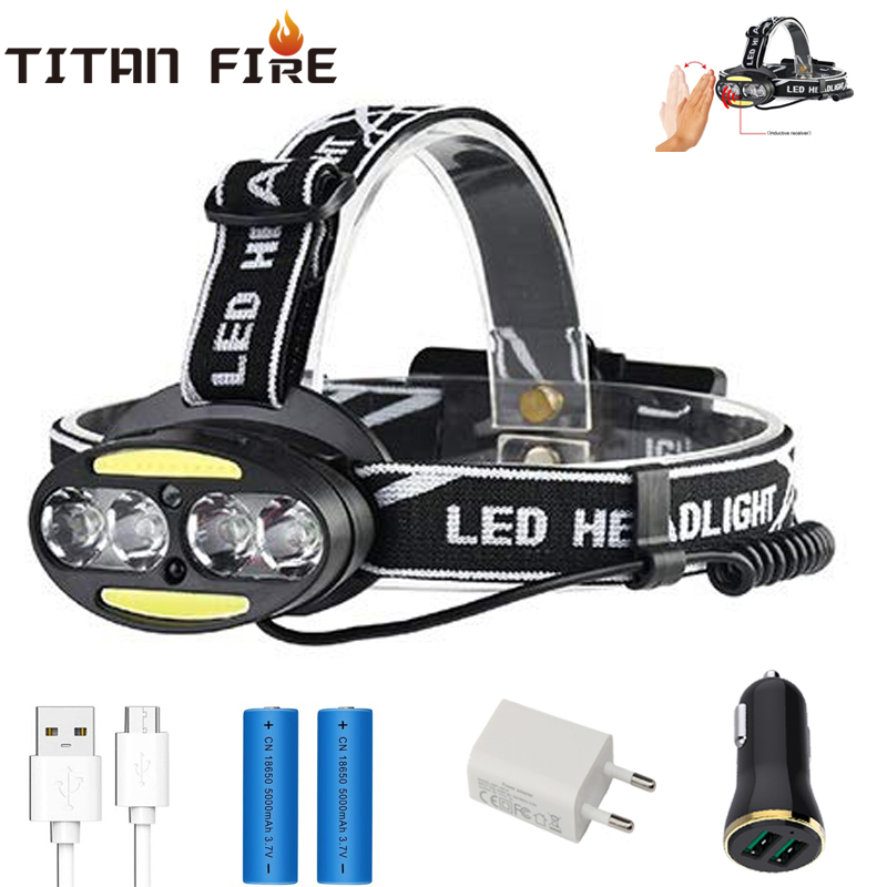 Motion Sensor Headlamp Headlight T6 COB Head Lamp USB Rechargeable Waterproof Infrared Induction Head Flashligh Fishing Camping