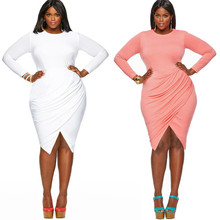New hot fashion personality large size round neck fat MM casual long-sleeved tight women's slim dress цена
