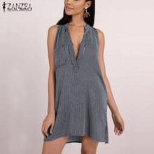 058b580ec65 ZANZEA 2018 Women Summer Dress Sleeveless Sexy V Neck Mini Dresses Casual  Loose Striped Vestido Chic Robe Femme Elbise Plus Size