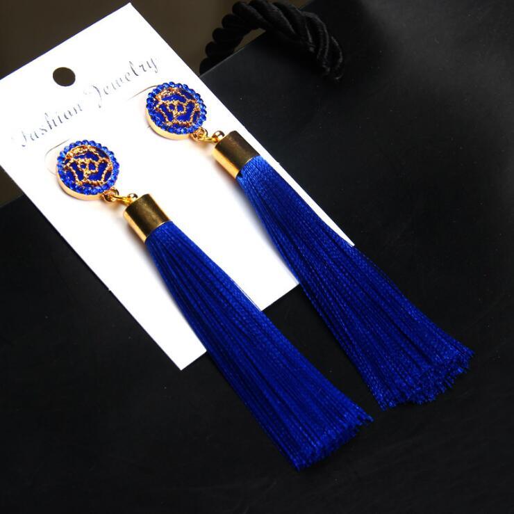 Exaggerated Rhinestone Long Tassel Earrings 2017 New Arrival Fashion Brincos Bijoux Crystal Dangle Earrings Women's Jewelry 21
