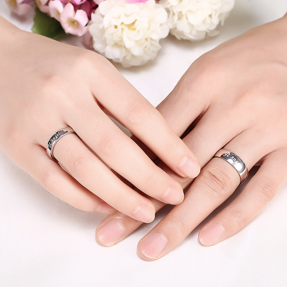 EPICFEAT Romantic Wedding Couple Rings for Women Men Titanium ...