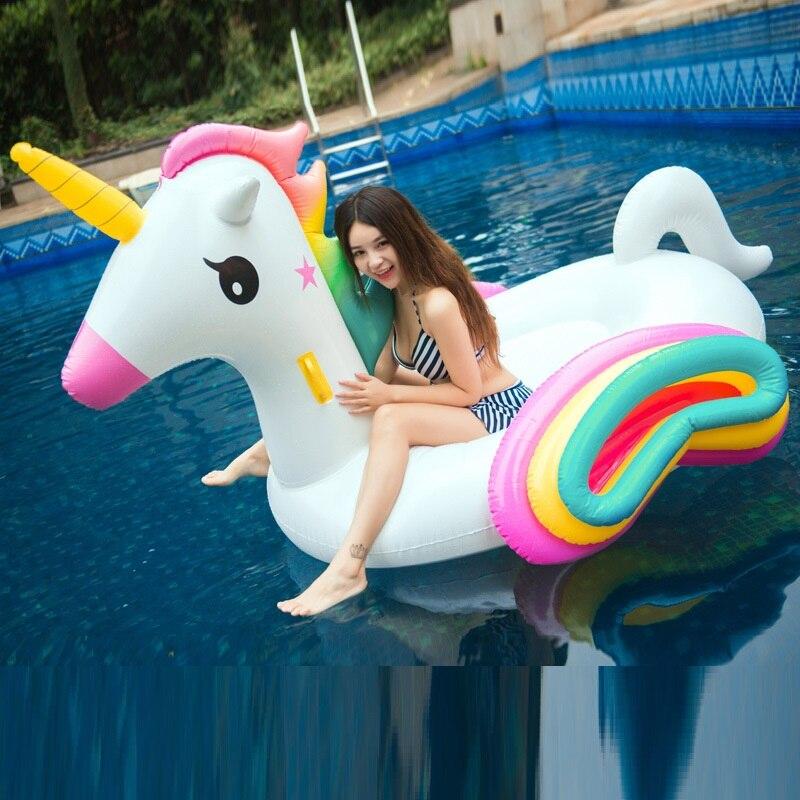 2019 nouvelle piscine géante gonflable de licorne flotte 210 cm arc-en-ciel Pegasus/hippocampe flotteur d'eau anneau de natation jouets amusants pour les enfants adultes
