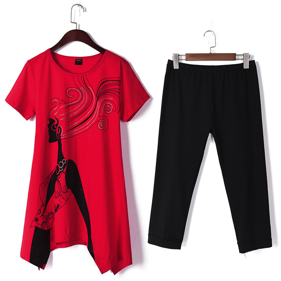 M-5XL Women Sports Suits Summer New Casual Large Size Women's Tops + Cropped Pants Suit Loose Fashion Two-piece Sets Female