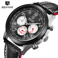 Luxury Brand BENYAR Waterproof Genuine Leather Fashion Sports Watches Men S Date Quartz Watch Men Clock