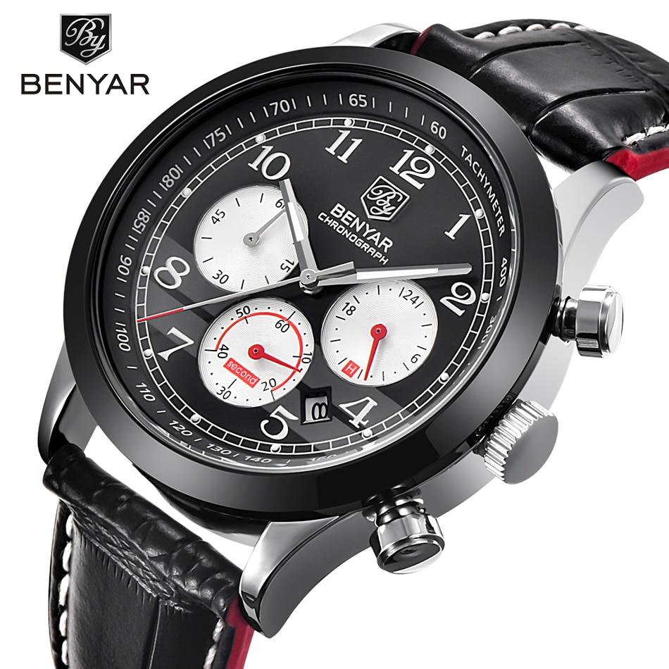 Luxury Brand BENYAR Waterproof Genuine Leather Fashion Sports Watches Men's Date Quartz Watch Men Clock Relogio Masculino 2017