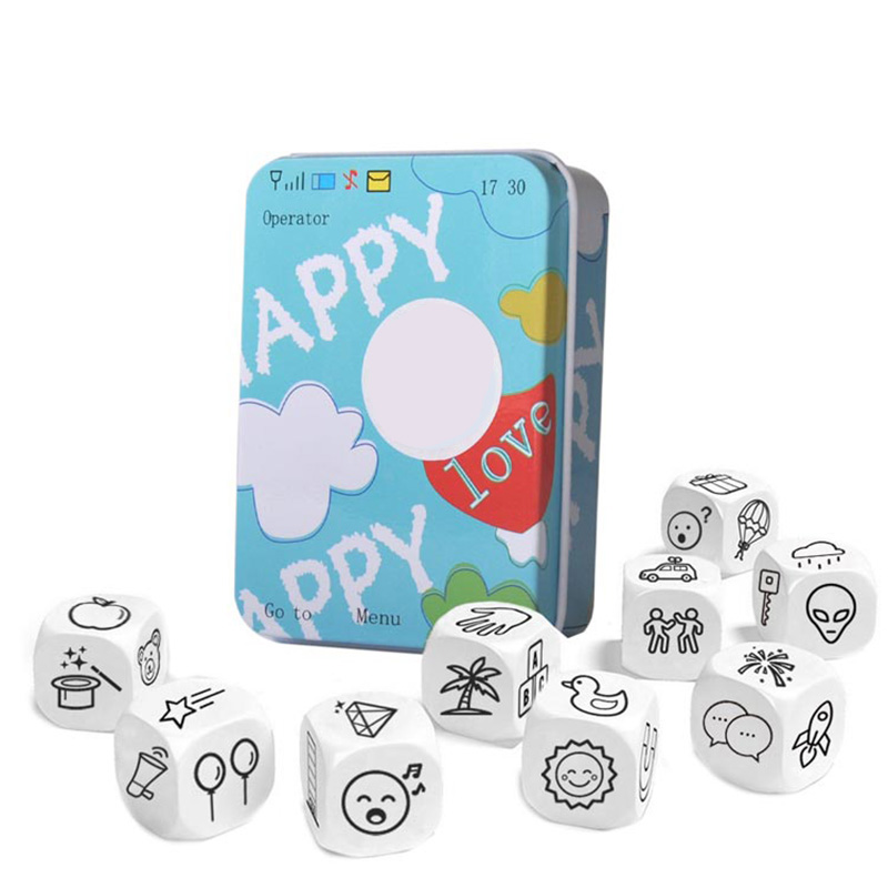 Telling Story Dice Learning Toy Metal Box/Bag English Rules Family/Parents/Party Funny Imagine Education Toys for Children