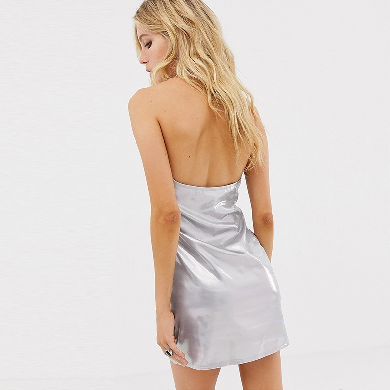 HDY Haoduoyi 2019 Summer Ladies Modern Fashion Vestido Beach Sexy Strap V-Neck Metal Color Casual Sleeveless Backless Dress