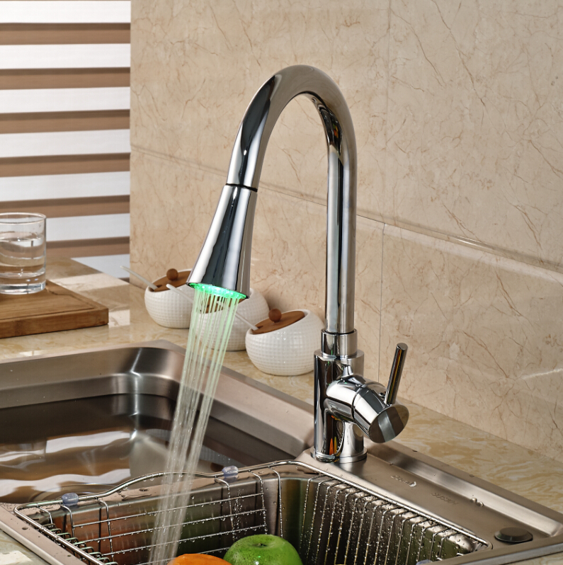 LED Light Deck Mount Single Handle Pull Out Sprayer Kitchen Faucet ...