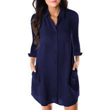 NORA TWIPS 2018 Women Summer Loose Dress Sexy Turn-down Collar Mini Casual Loose Dresses Fashion Women's Black Red Dress Girl – Dark blue