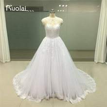 Real Photo Cap Sleeves Luxury Beaded Applique Lace Wedding Dresses 2017 Ball Gown Bridal Dress Robe de Mariee Tulle FW125