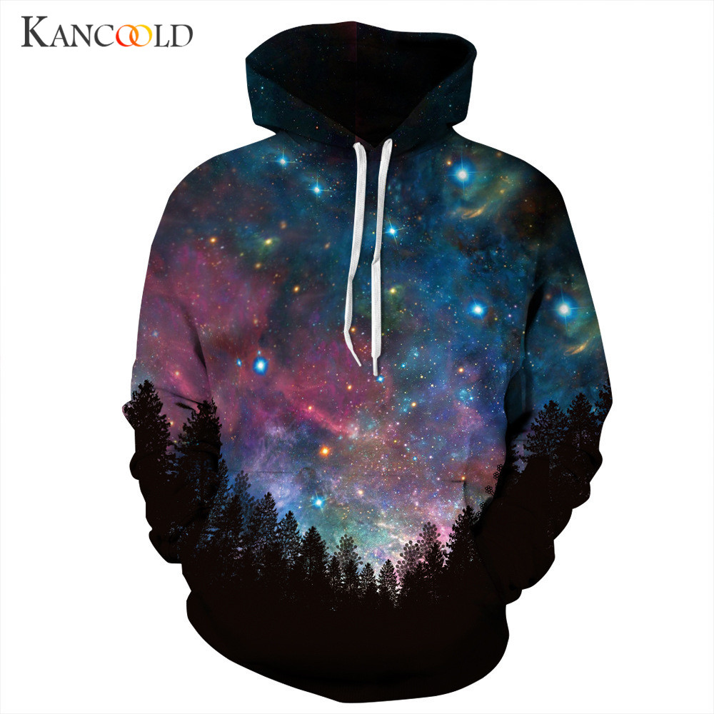 Men Women Hoodies Autumn Winter Sweatshirt 2017 Unisex 3D Starry Sky Print Hooded Pullover Warm Couple Lovers Outwear OCTT13