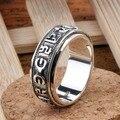 Handmade 925 OM Mani Padme Hum palavras Spinning anel Vintage de prata tibetano OM anel budista OM palavras anel de dedo