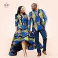BRW Autumn Dress African Couples Men Shirt Lover Clothing Print Dashiki Dress Bazin Riche Homme Femme Vestidos WYQ05