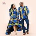 BRW Otoño Vestido Parejas Hombres Camisa Ropa Amante Imprimir Vestido Dashiki Africano Bazin Riche Homme Femme Vestidos WYQ05