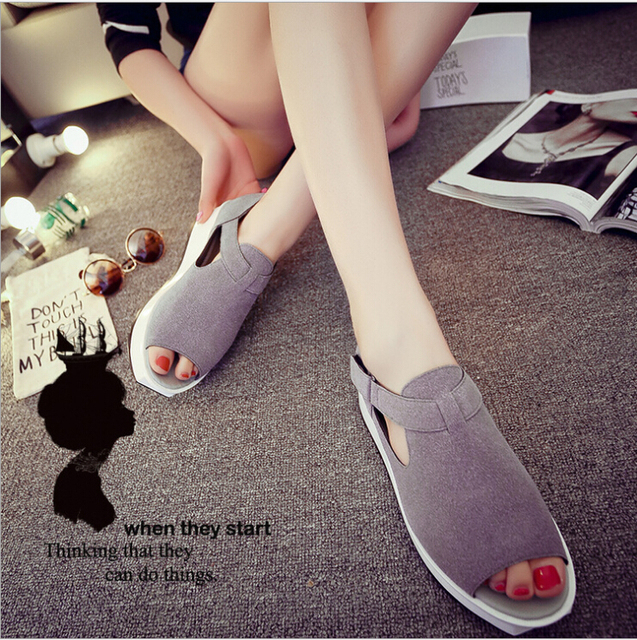 2016 New Summer Genuine Leather Cow Split Peep Toe Hallow Sandals Thick Sole Female and Women Shoes and 2 Colors Size 35~39