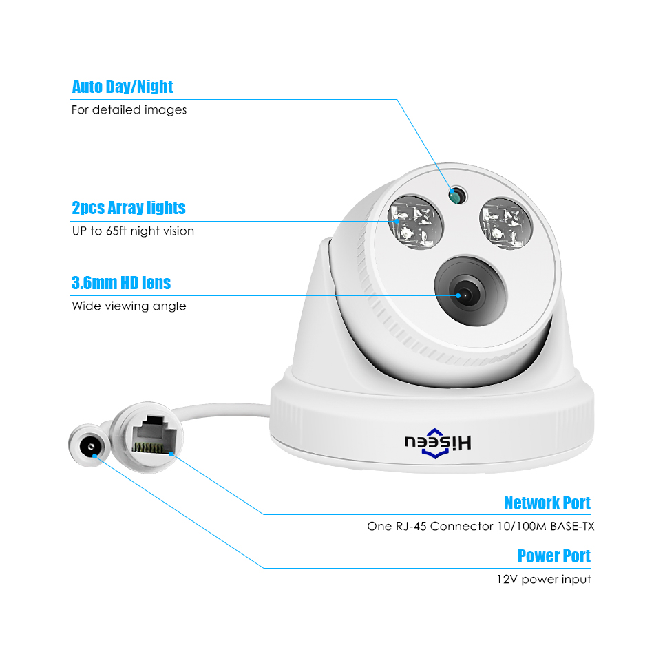 Image 5 - Hiseeu 2MP POE IP Camera H.265 Dome Camera 1080P Night Vision P2P Motion Detection ONVIF For PoE NVR 3.6 Lens App View 30fps-in Surveillance Cameras from Security & Protection