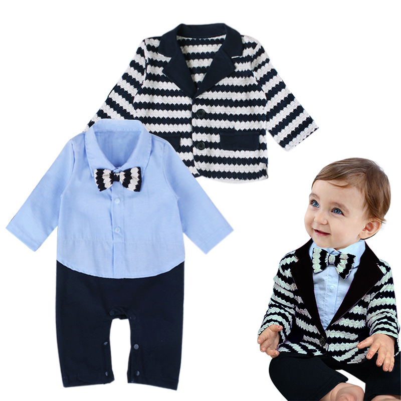 2017 New Brand Baby Boys Formal Clothing Infant Romper + Stripe Jacket 2 Pieces Suit Gentleman Clothes Set for Newborn 0-2 Years