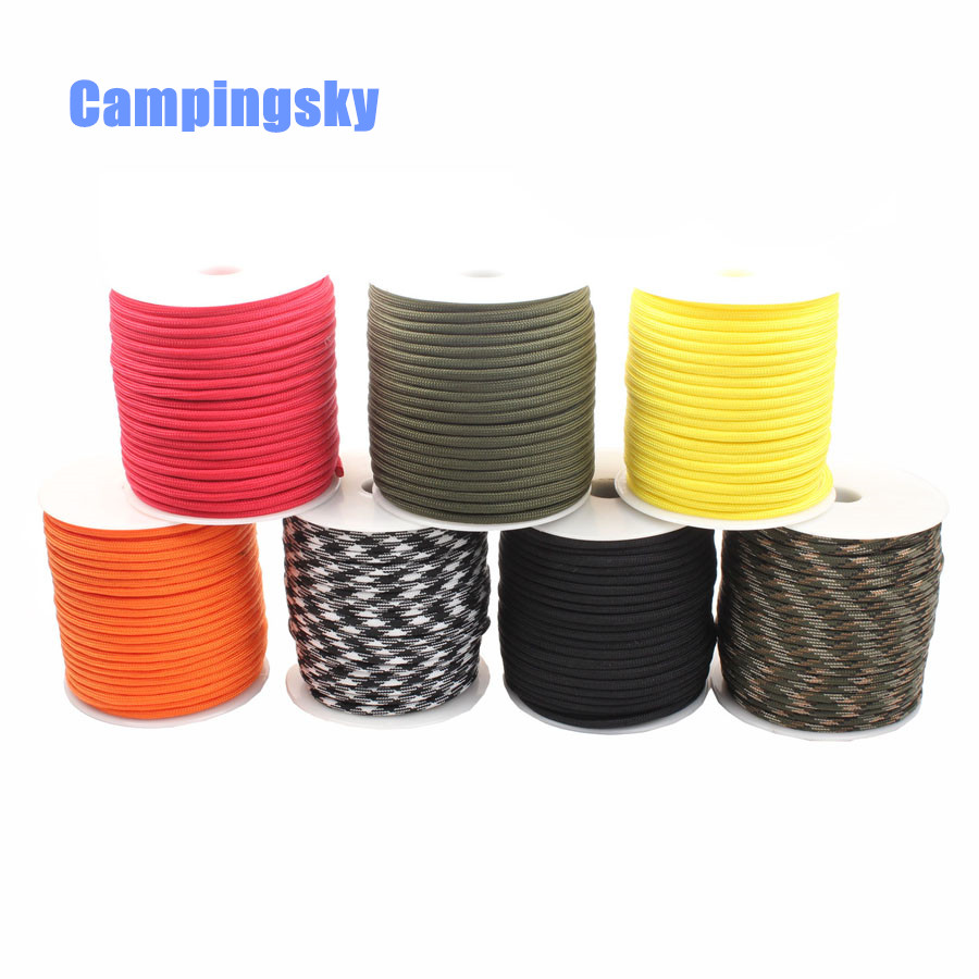 CAMPINGSKY Paracord 550 4mm rope 100FT Paracord survival Parachute Cord Lanyard Rope Climbing Camping survival equipment kit 8mm climbing multi purpose paracord rope cord blue 20m
