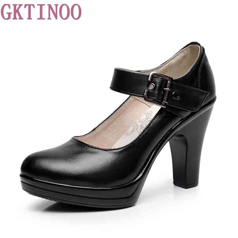 GKTINOO 2019 Spring Autumn Round Toe Ankle Strap Pumps Genuine Leather Platform High Heels Work Shoes