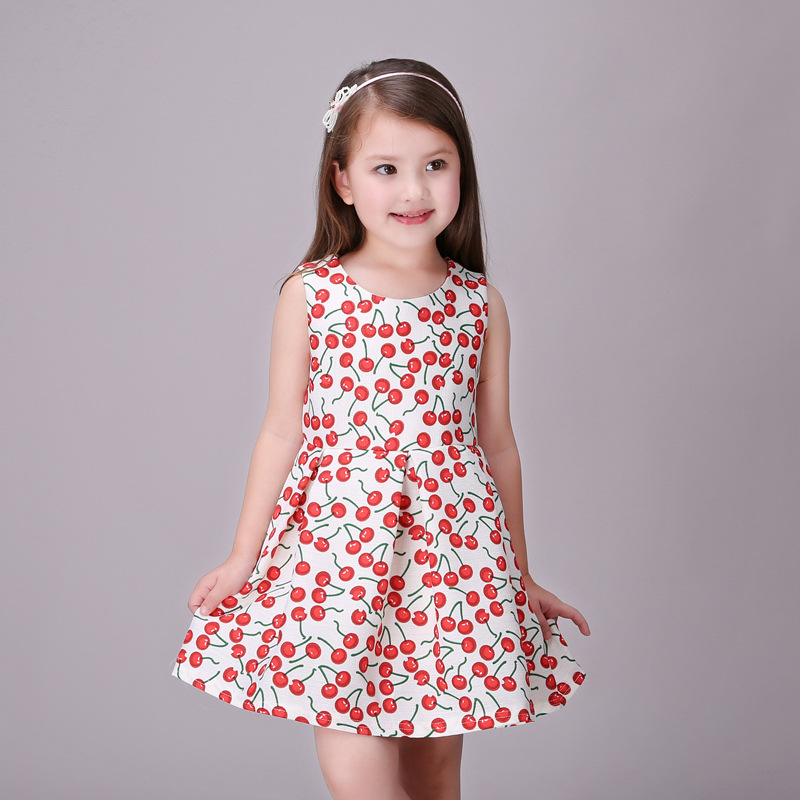 red summer girl dress princess costume cherry children