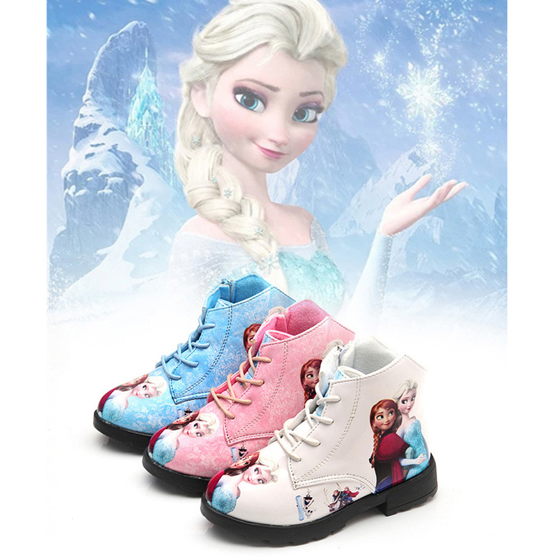 Elsa Snow Queen Winter Shoes for Girls Martin Boots Kids Winter Boots for Children Footwear Girl Leather Boots Fashion Kids uovo children winter shoes kids fox fur walking shoes girls snow shoes mid cut footwear for kids winter hiking boots for girls