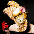 De alto Grado Del Partido de La Mascarada Máscara Fan Sexy Hecho A Mano de Lujo de Italia Venecia Única Mascarilla Mujeres Chrismas de Halloween Carnaval