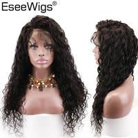EseewigsTransparent полные парики шнурка Glueless предварительно сорвал естественные волосы линия с детскими волосами волна воды бразильские Remy челове