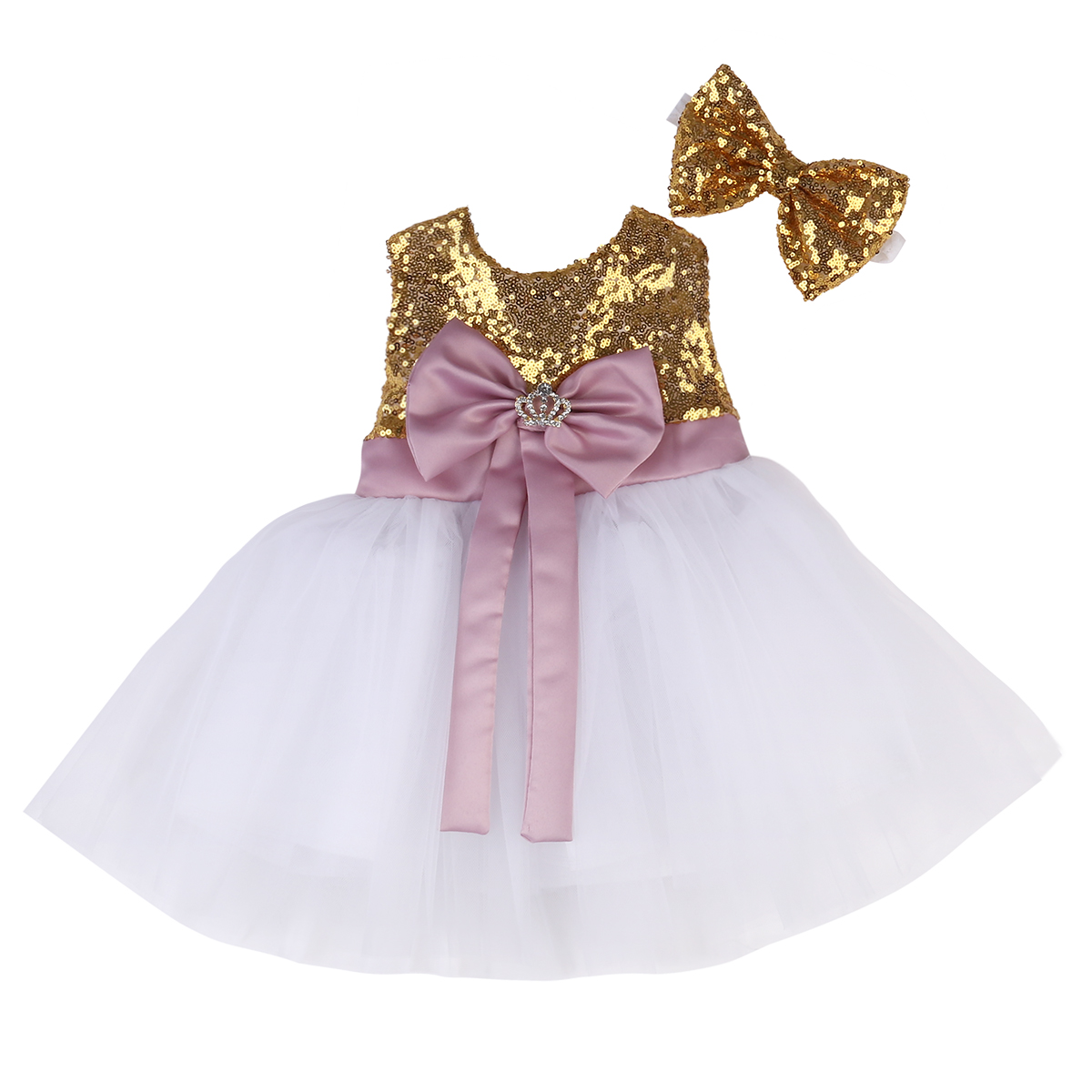 Fancy Princess Baby Girls Sequins Party Dress Bridesmaid Gown Formal Dresses