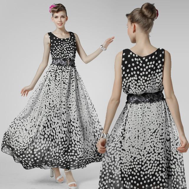 dd1b1f97dfc0 8550 Classic Polka Dot Dress 2015 Summer New Women Casual plus size Tank Chiffon  Maxi Dress With Lace Belt Beach Party Vostido