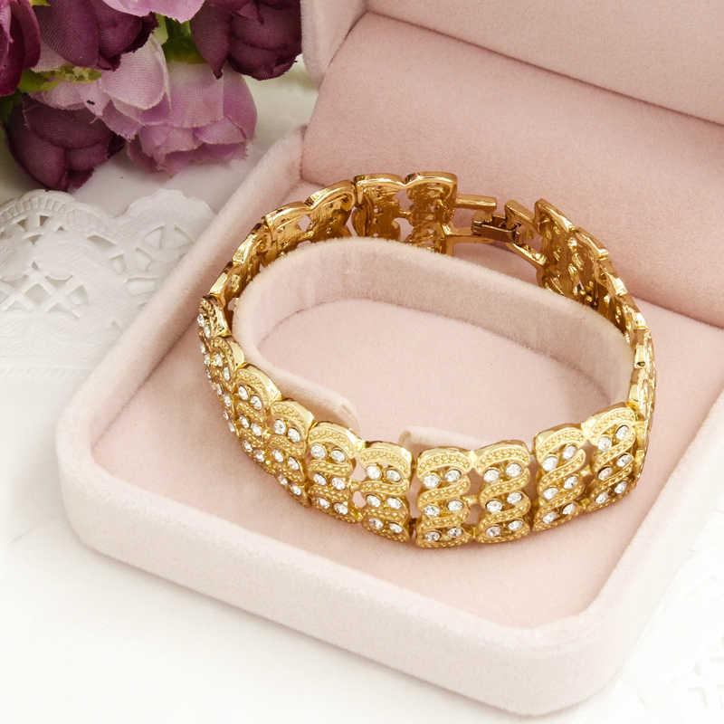 Liffly חתונה אפריקאית נשים אופנה כלה דובאי זהב קריסטל שרשרת צמיד טבעת עגילי סטי תכשיטים